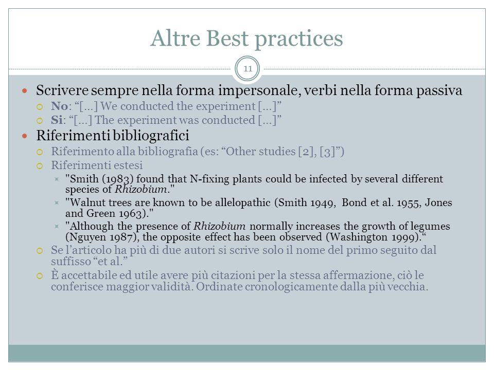 Altre Best practicesScrivere sempre nella forma impersonale, verbi nella forma passiva. No: […] We conducted the experiment […]